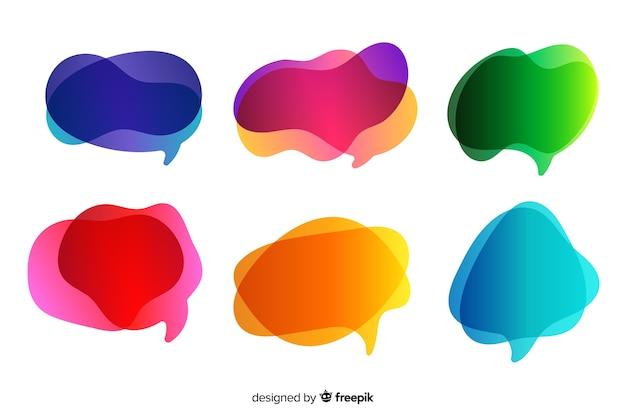 Empty gradient speech bubble set