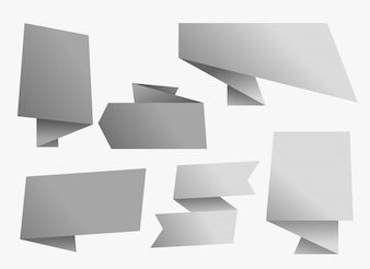 Empty gray chat origami banner design