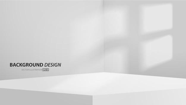 Пустая серая столовая студия и светлый фон. витрина с копией пространства для отображения дизайна контента. баннер для рекламы товара на сайте.