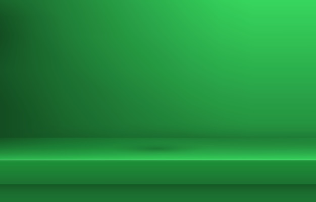 Empty green color shelf with shadow