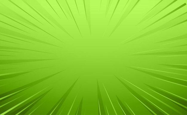 Empty green comic style zoom lines background