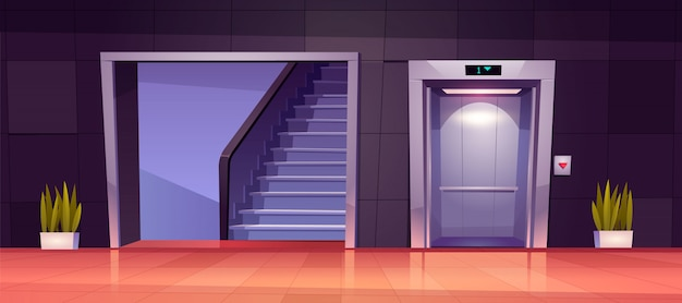 Empty hallway interior with open elevator doors and stairs.