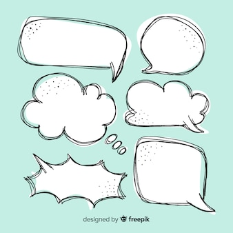 Empty hand drawn speech bubbles collection
