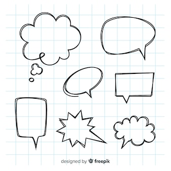 Empty hand drawn speech bubbles set