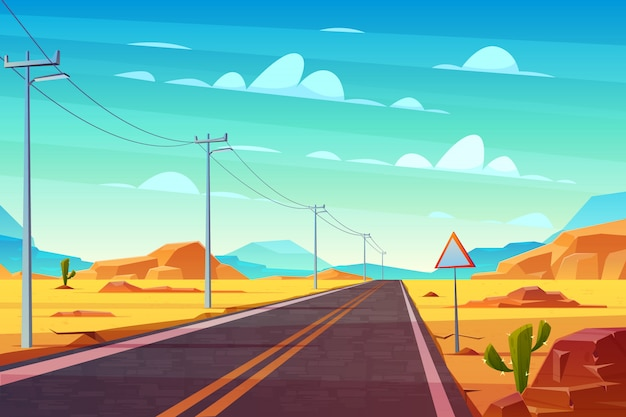 Empty highway road in desert, going far to horizon cartoon