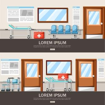 Пустой коридор больницы. интерьер коридора клиники с креслом в ряд и больничной койкой. аптечка первой помощи. медицинская концепция. иллюстрация. страница веб-сайта и мобильное приложение