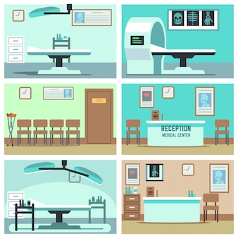 Empty hospital, doctor office, surgery room, clinic interiors set. hospital room with x-ray