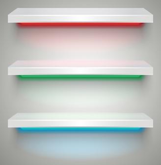 Empty illuminated shelves