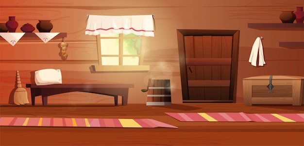 Empty interior of the russian hut. ancient russian kitchen with door, bench, rug, broom, grip, window with curtain, carpet.   cartoon illustration.