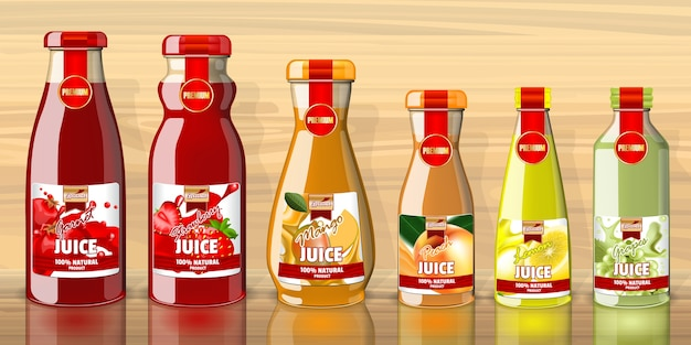 Empty juice bottles and lables template