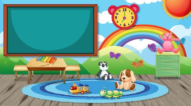 Empty kindergarten classroom interior with chalkboard and kid toys