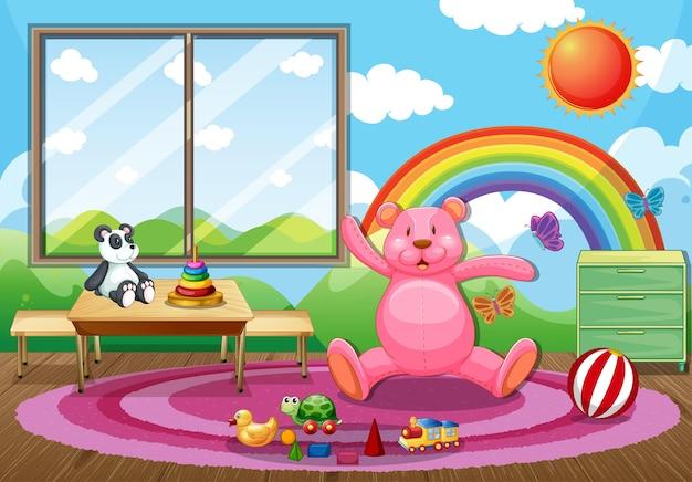 많은 어린이 장난감이 있는 빈 유치원 교실 내부