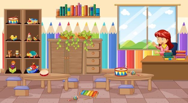 Empty kindergarten room scene with a teacher