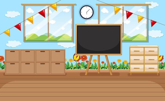 교실 물건과 실내 장식이 있는 빈 유치원 방