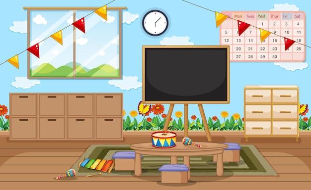 Пустая комната детского сада с классными предметами и внутренним убранством