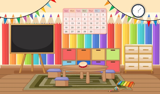Empty kindergarten room with classroom objects and interior decoration