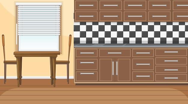 カウンターキッチンとダイニングテーブル付きの空のキッチンルーム