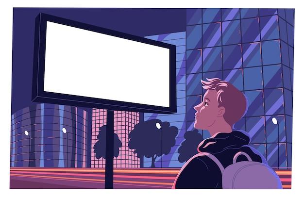 Пустой большой рекламный щит на обочине дороги с человеком, смотрящим на него.