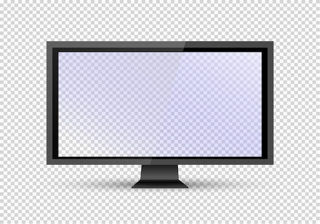 Empty lcd screen, plasma displays or tv for your monitor .computer or black photo frame,  on a transparent background. illustration.