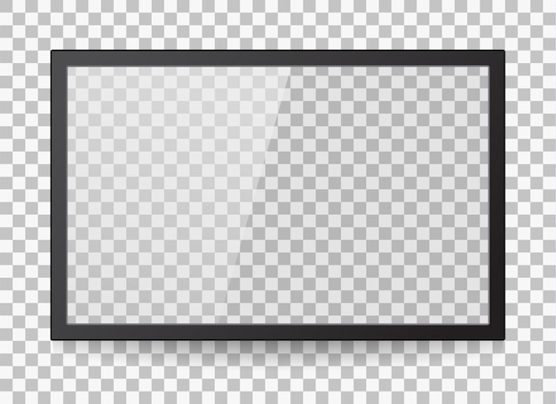 투명한 배경에 격리된 컴퓨터 또는 검은색 사진 프레임의 빈 led 모니터