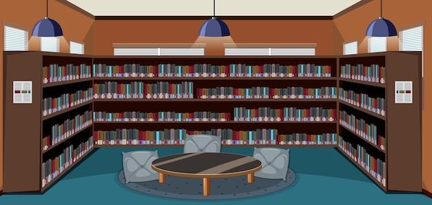 책장이 있는 빈 도서관 인테리어 디자인