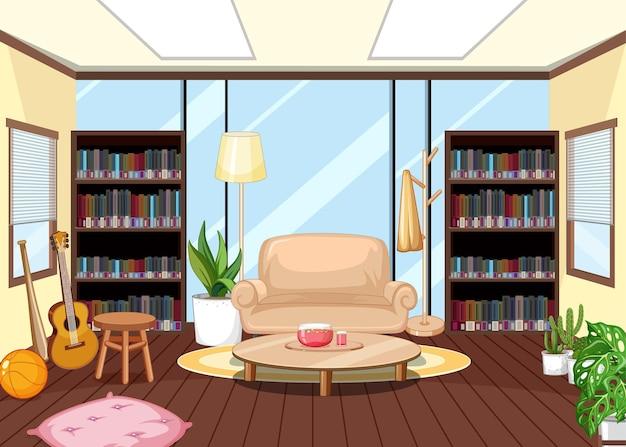 Дизайн интерьера пустой библиотеки с книжными полками