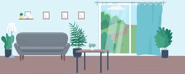 空のリビングルームのフラットカラーイラスト。背景に家具と現代的な家の2d漫画のインテリア。快適な宿泊施設、人のいない居心地の良いアパート