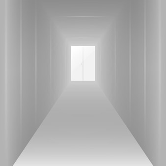 Empty long white corridor, for design. vector illustration