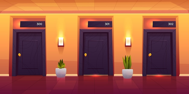 Empty luxury hotel hallway interior Free Vector