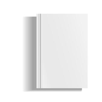 빈 잡지, 앨범 또는 책 템플릿 흰색 배경에 고립. 디자인 및 브랜딩을위한 개체입니다.