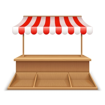 Empty market stall. wooden kiosk, street grocery stand with striped awning and counter desk template