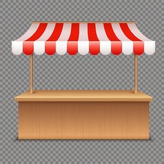 空の市場の屋台。透明に赤と白のストライプのオーニング付き木製テント