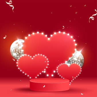 Empty marquee hearts with realistic disco balls on red background.