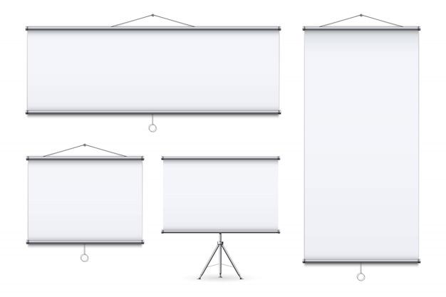Empty meeting projector screen, presentation.