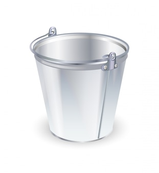 Empty metal bucket, isolated on white