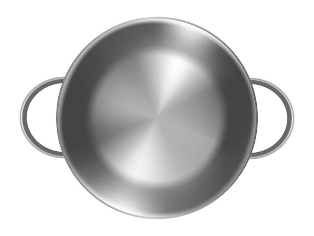 ふたなしで、白い背景の上の空の金属鍋。フォトリアリスティックなスタイル。ベクトルイラスト。