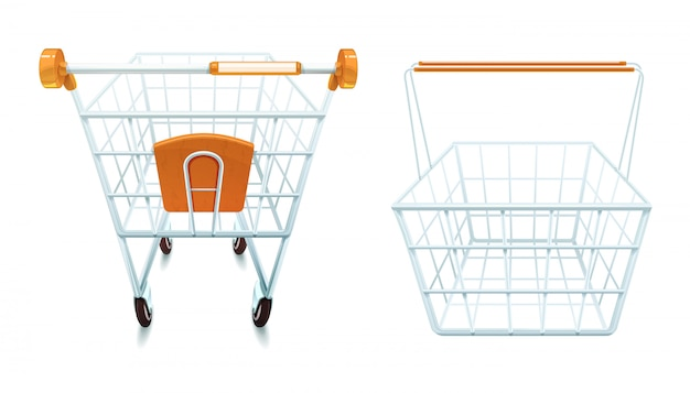 Empty metal shopping cart and basket set realistic isolated vector illustration