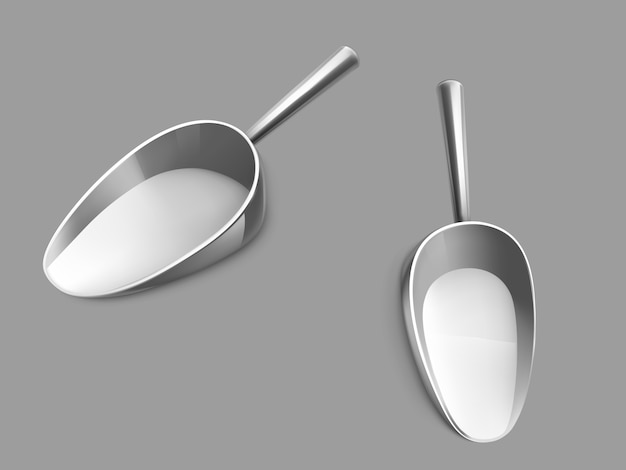 Empty metallic scoop realistic vector illustration