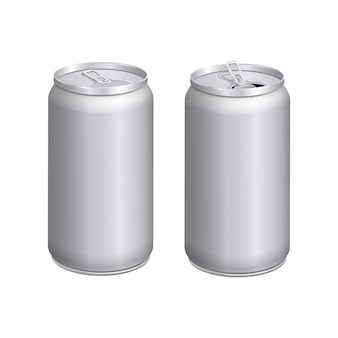 Empty mock up realistic aluminium containers. open and closed cans.