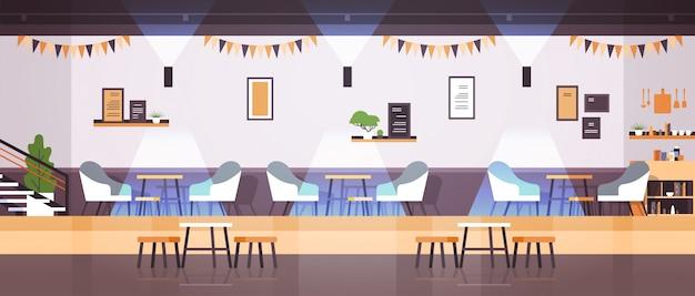 Empty modern cafe interior