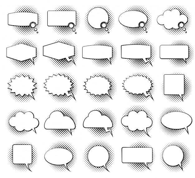 Empty monochrome speech comic text bubbles