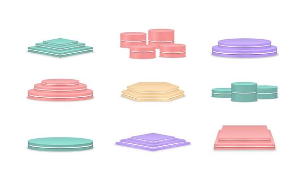 Пустые разноцветные подиумы площадка для церемонии награждения и презентации продукции пьедестал для победителей