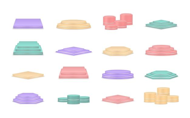 Пустые разноцветные подиумы платформа для церемонии награждения и презентации продукции