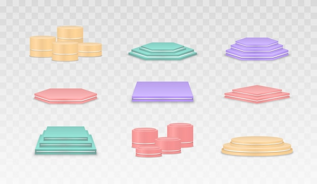 Empty multicolored podiums