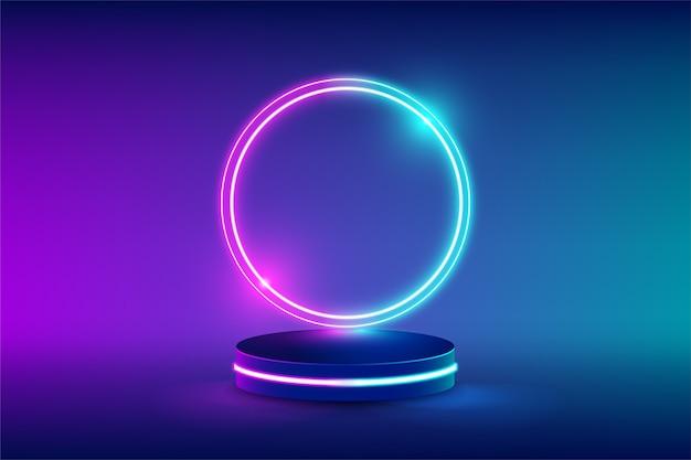 空のネオンステージで、未来的なサークルの青とピンクのネオンライトで製品を交換