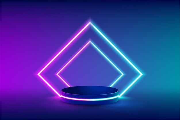 Empty neon stage for product replacement with futuristic rectangle blue and pink neon light