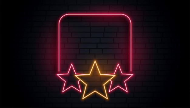 Empty neon star frame with text space