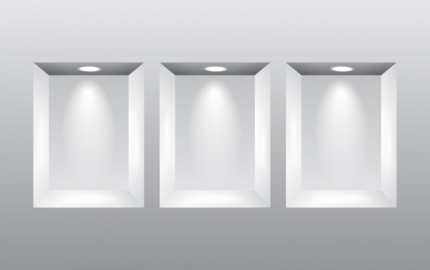 Empty niches in wall with spot lights