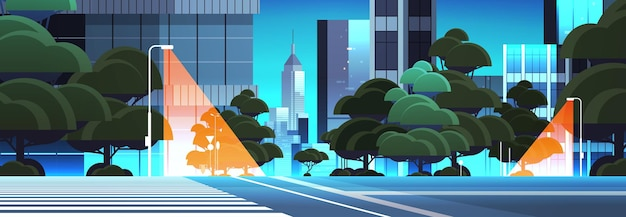 横断歩道都市の建物のスカイライン近代建築の街並みと空の夜の街路