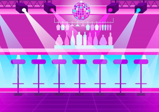 Empty nightclub, disco ball and bright spotlights